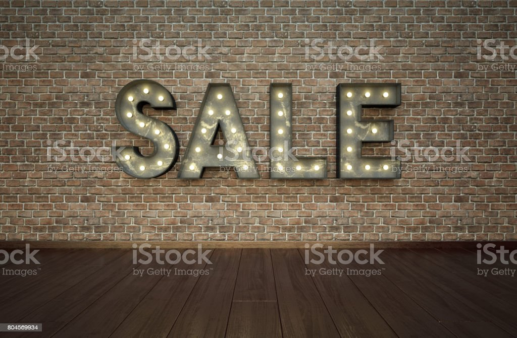 Loft styled interior with bulbsign letters stock photo