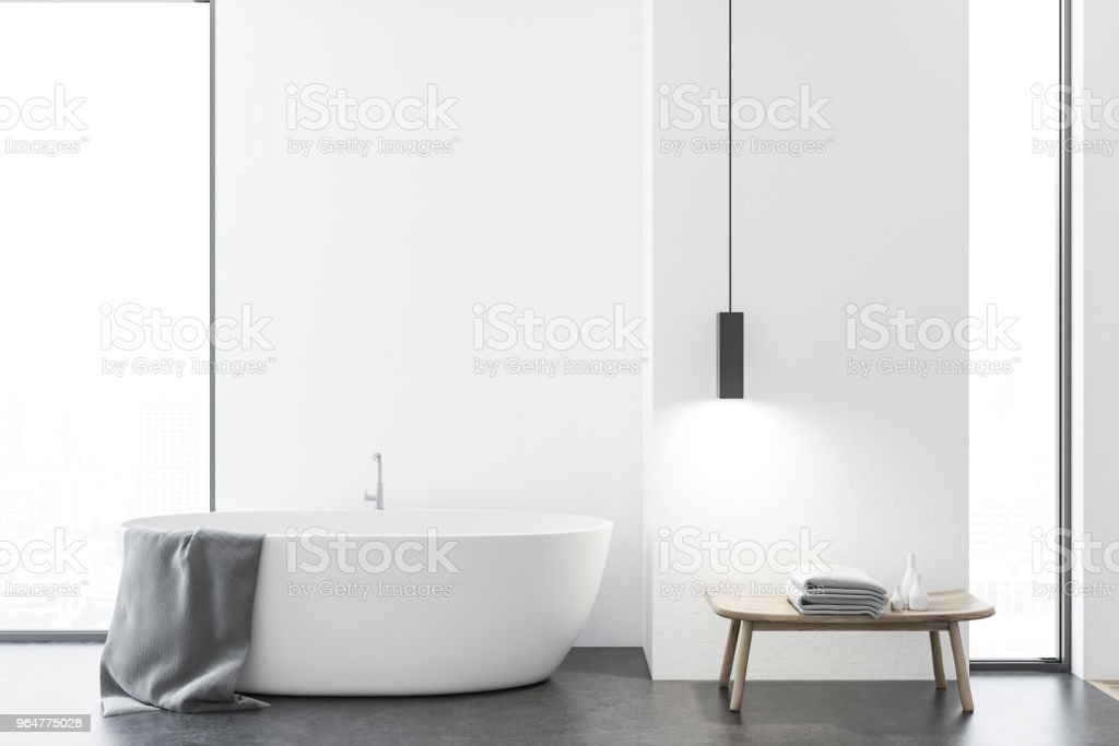 Loft white bathroom with a tub royalty-free stock photo
