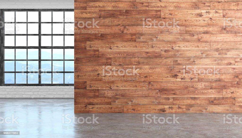 Loft Holz Leeren Innenraum Mit Boden Fenster Und Ziegel Betonwand 3d