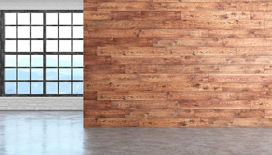 Loft wood empty room interior with concrete floor, window and brick wall. 3D render illustration.