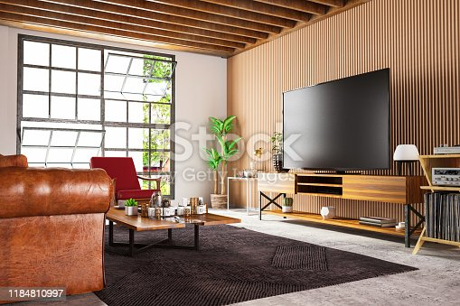 Loft Wooden Room with Television Set. 3d Render