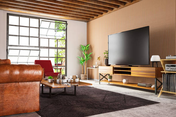 Loft Wooden Room with Television Set stock photo