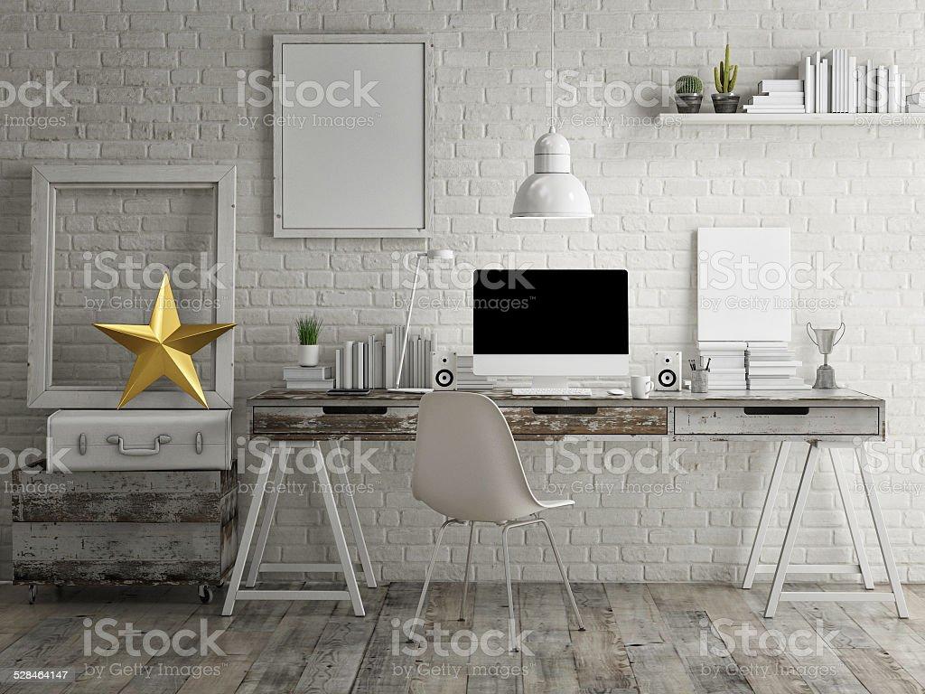 Loft workspace background stock photo