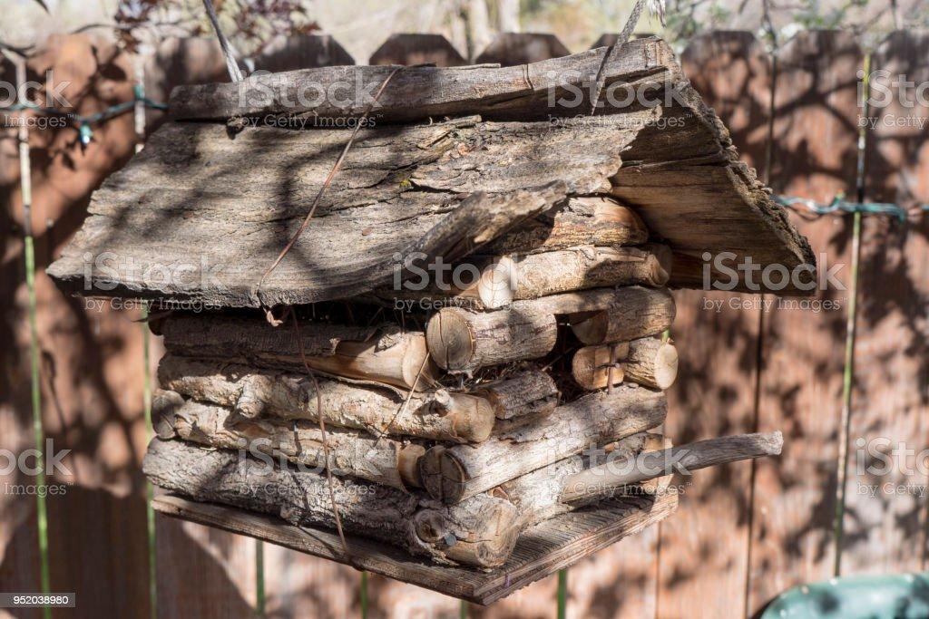 Log birdhouse in Reno Nevada stock photo