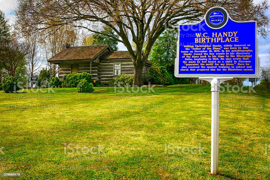 Log cabin and sign, W.C. Handy birthplace in Florence, Alabama stock photo