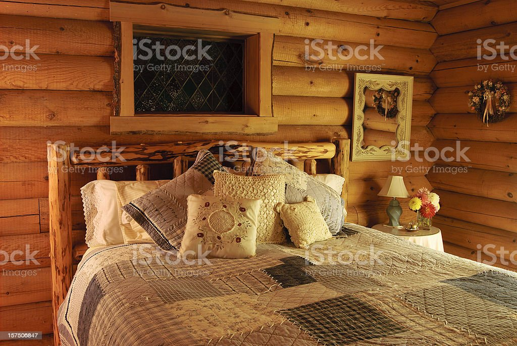 Log Cabin Bedroom stock photo
