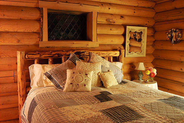 Log Cabin Bedroom stock photo