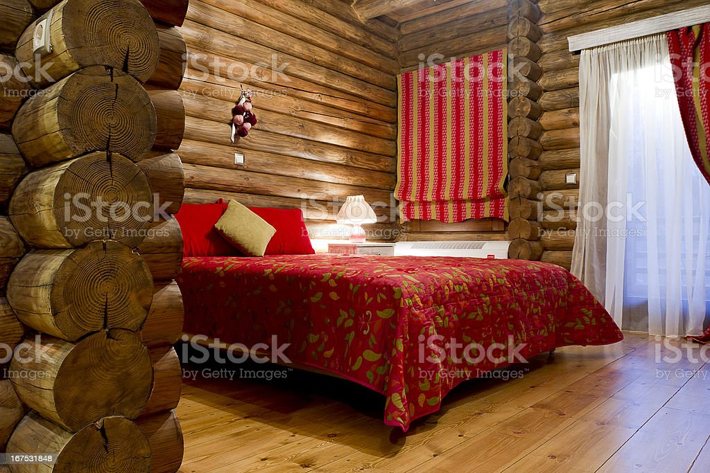 Log Cabin Bedroom - Royalty-free Bed - Furniture Stock Photo