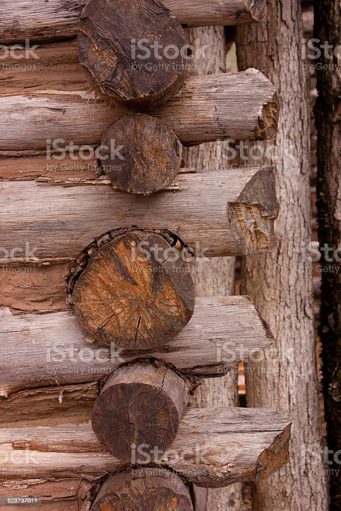 Log cabin corner, Lewis and Clark State Memorial Park stock photo