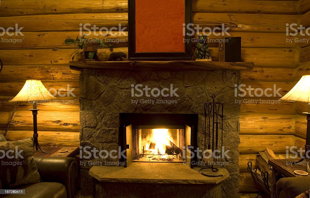 Log Cabin Fireplace stock photo