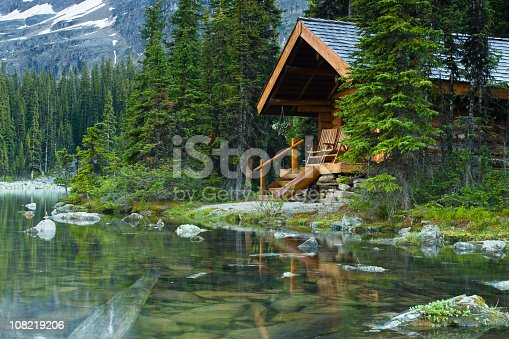 Evening shot of a log cabin at Lake O'Hara, BC, Canada. Rocks are seen beneath the water surface.  Beautiful scenic vacation get away.    [b]Related Collections[/b]   [url=http://www.istockphoto.com/file_search.php?action=file&lightboxID=6570108/][img]http://29.media.tumblr.com/tumblr_l8e06m5SiL1qdxci4o1_r1_400.jpg[/img][/url]  [url=http://www.istockphoto.com/file_search.php?action=file&lightboxID=6570224/][img]http://25.media.tumblr.com/tumblr_l8e08t12zE1qdxci4o1_400.jpg[/img][/url]  [url=http://www.istockphoto.com/file_search.php?action=file&lightboxID=7924610/][img]http://28.media.tumblr.com/tumblr_l8e00gb2ND1qdxci4o1_400.jpg[/img][/url]  [url=http://www.istockphoto.com/file_search.php?action=file&lightboxID=6572677/][img]http://25.media.tumblr.com/tumblr_l8e05fTgV41qdxci4o1_400.jpg[/img][/url]