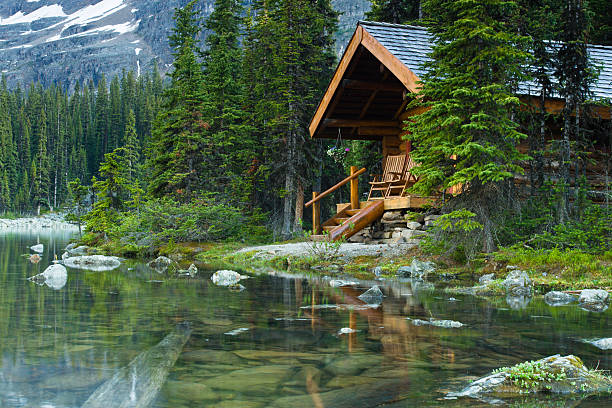 Log cabin hidden in the trees by the Lake Ohara in Canada stock photo
