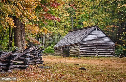 Rustic log cabin in the Great Smoky Mountains