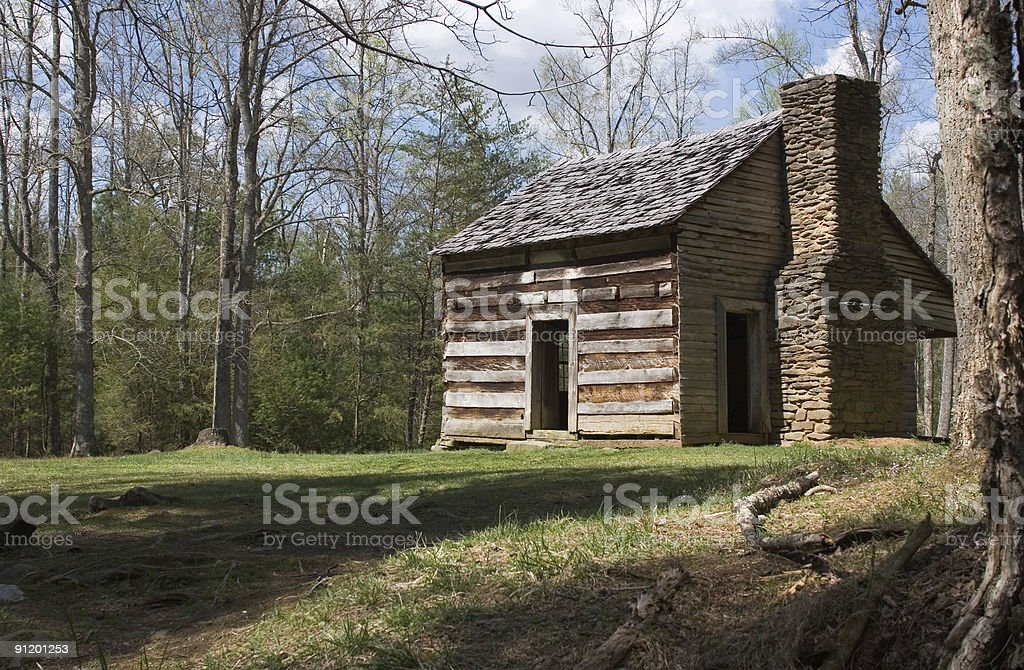 Log Cabin in Clearing,   Great Smoky Mountain National Park royalty-free stock photo