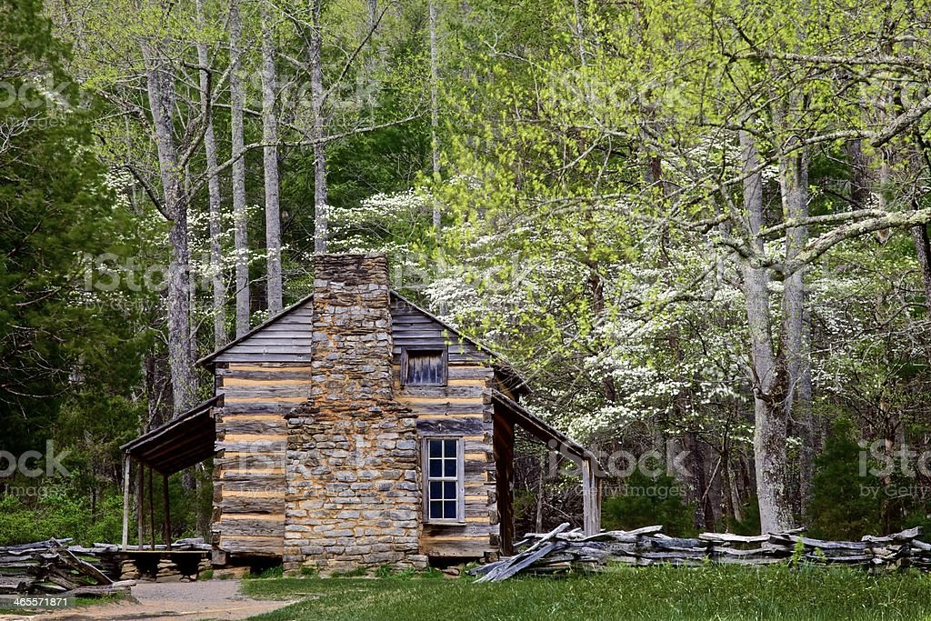 log cabin in spring royalty-free stock photo