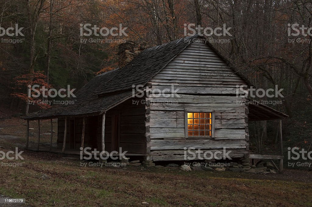Log cabin in the Great Smoky Mountains National Park royalty-free stock photo