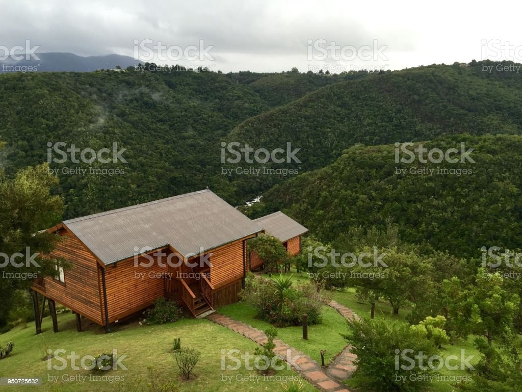 Log Cabin in the Hills stock photo