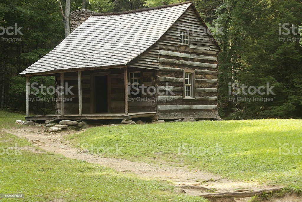 Log cabin in the wood royalty-free stock photo