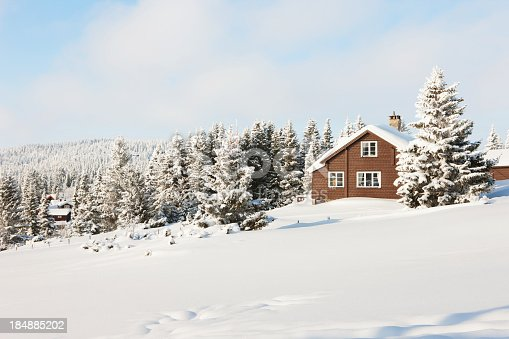 Log cabin in Nordseter,, Lillehammer,, Norway. NOT RESIDENTIAL,, PART OF A HOTEL