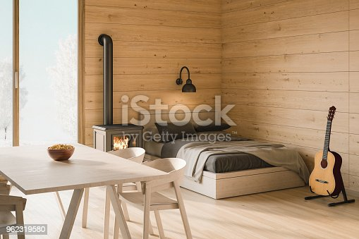Render Image of a small log cabin interior.