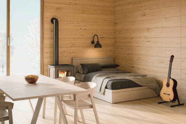 log cabin interior - mountain home interieur stock-fotos und bilder