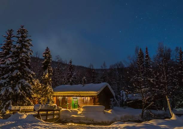 Log cabin nestled in woods on snowy winter night picture id841409248?b=1&k=6&m=841409248&s=612x612&w=0&h=ayybztda8bg3freum3yrzyizkn5ltdlcjw lz1wc188=