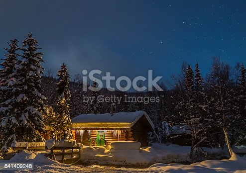 Log Cabin Nestled In Woods On Snowy Winter Night Stock Photo More