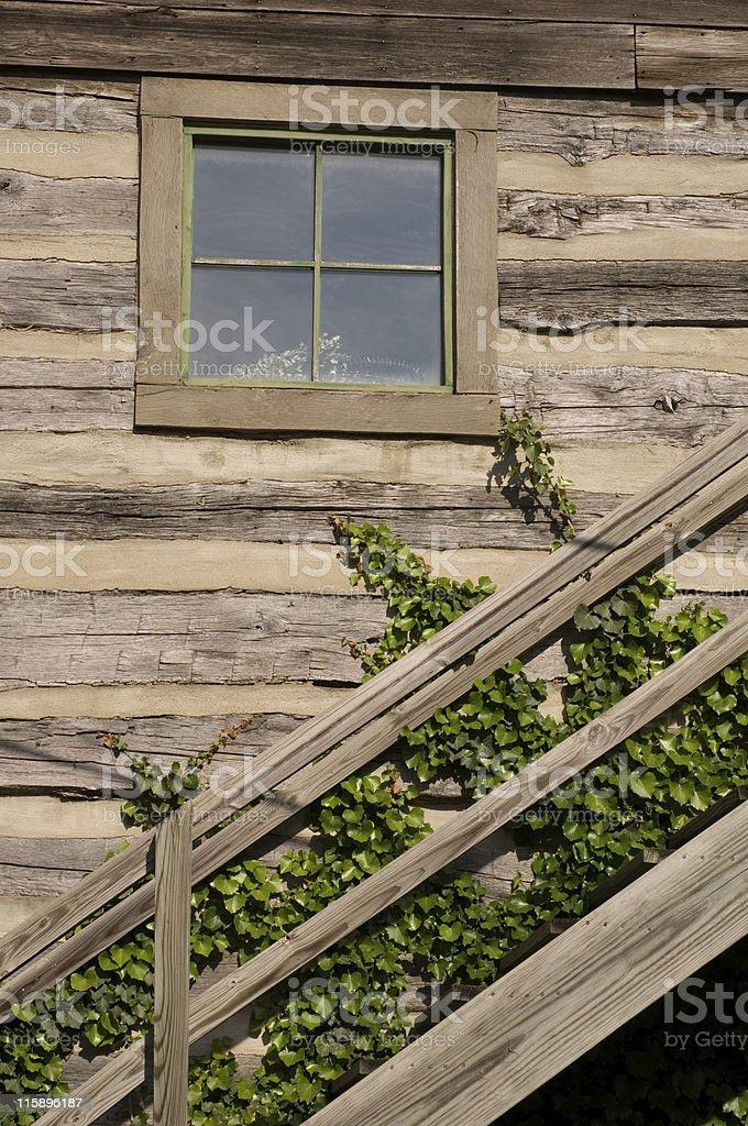 Log Cabin Stairway royalty-free stock photo