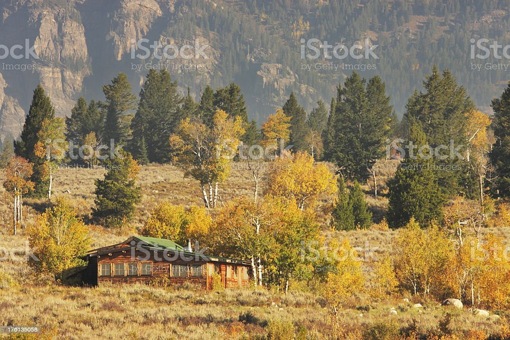 Log Cabin Wilderness Mountain Landscape royalty-free stock photo