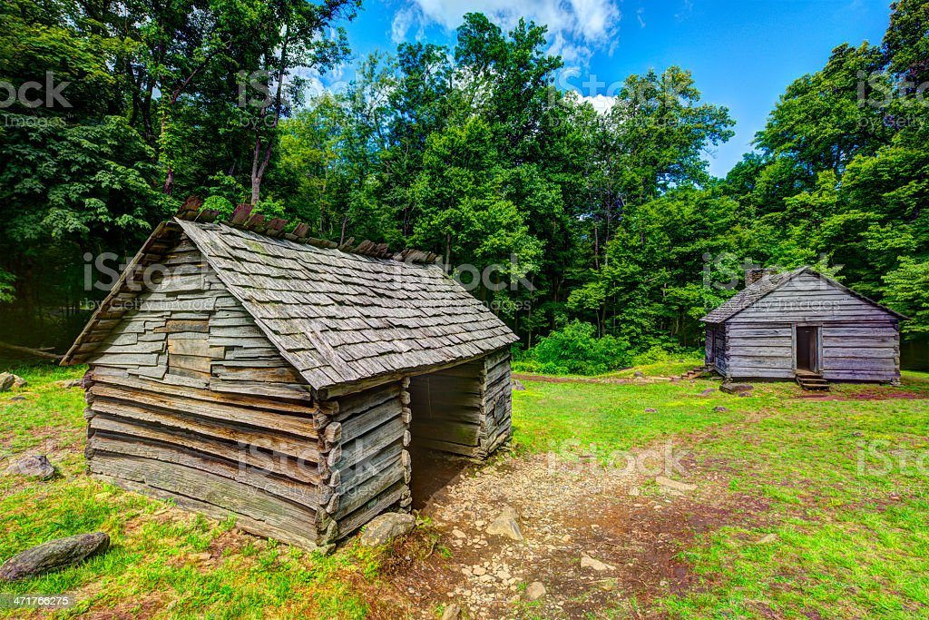 Log Cabins in the Great Smoky Mountains stock photo
