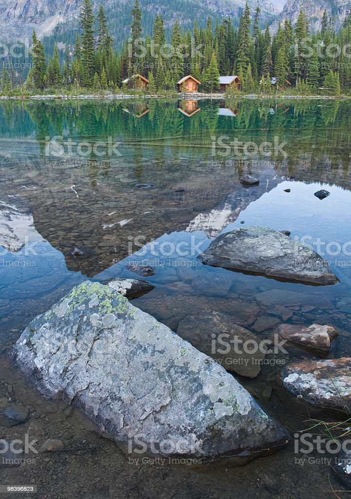 Log Cabins On Edge Of Lake royalty-free stock photo