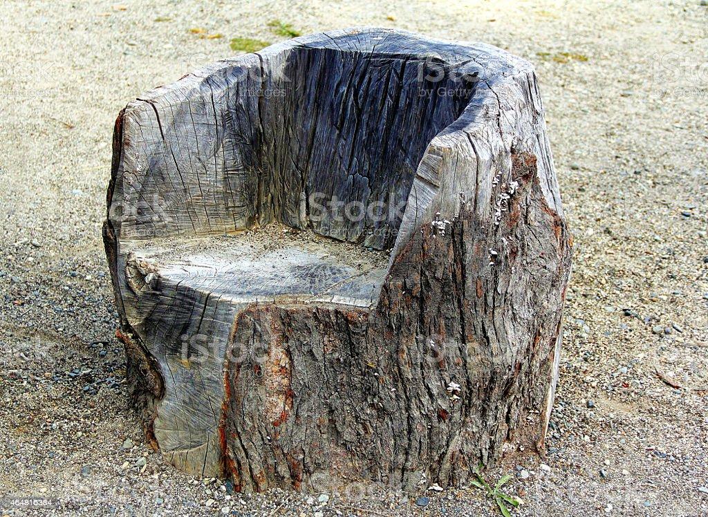 Log Chair. Stock Photo