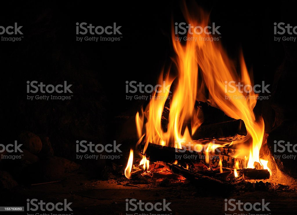 Log fire stock photo