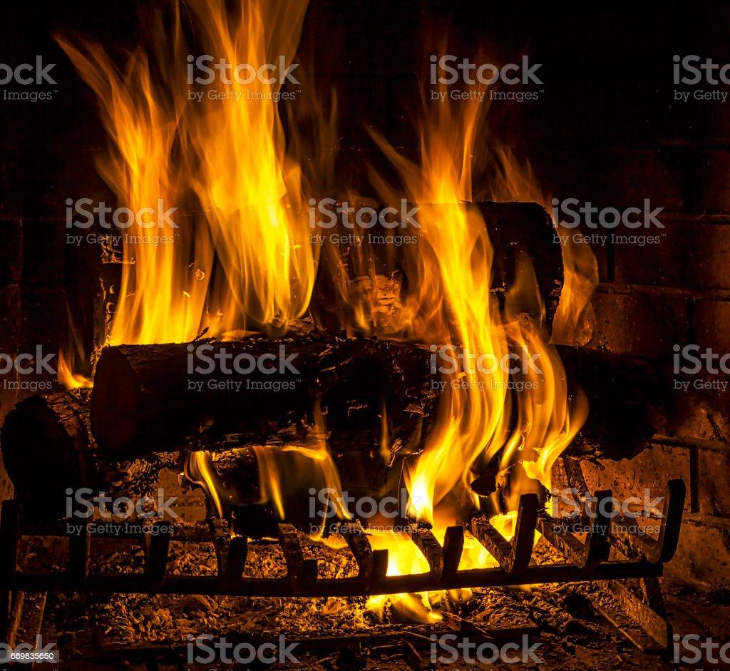Log Fire stock photo