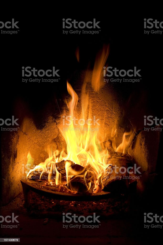 Log Fire with flames stock photo