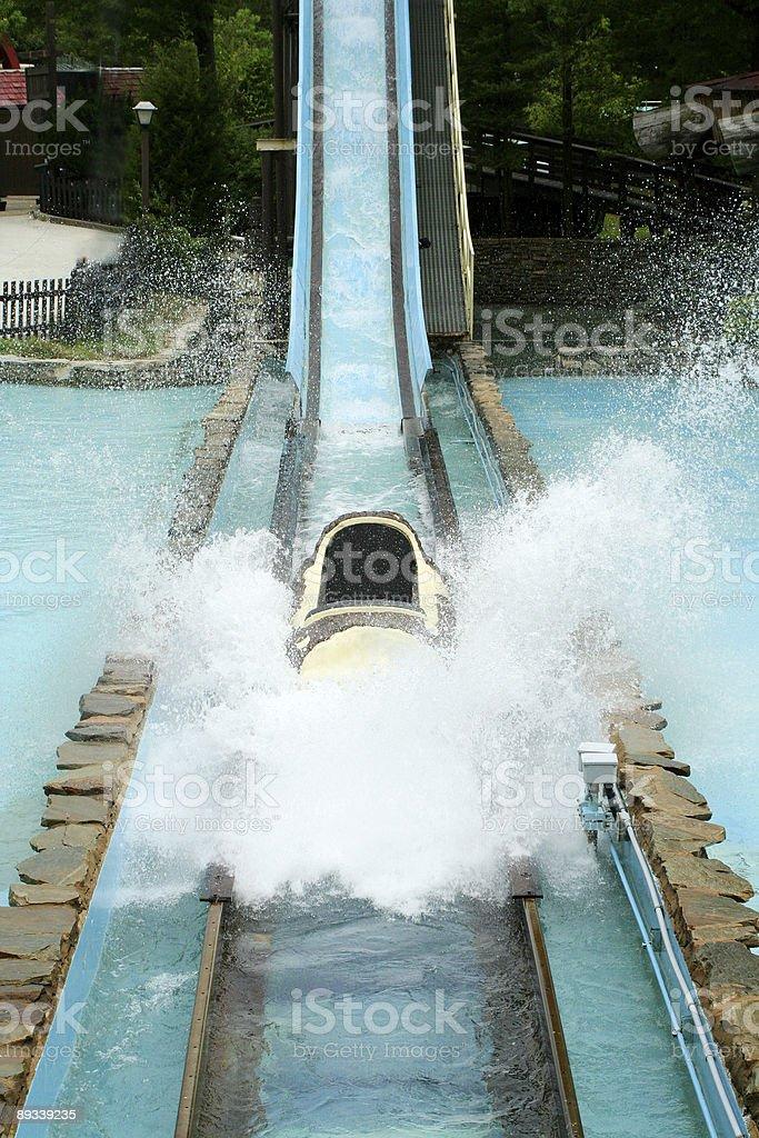 Log flume amusement park ride stock photo