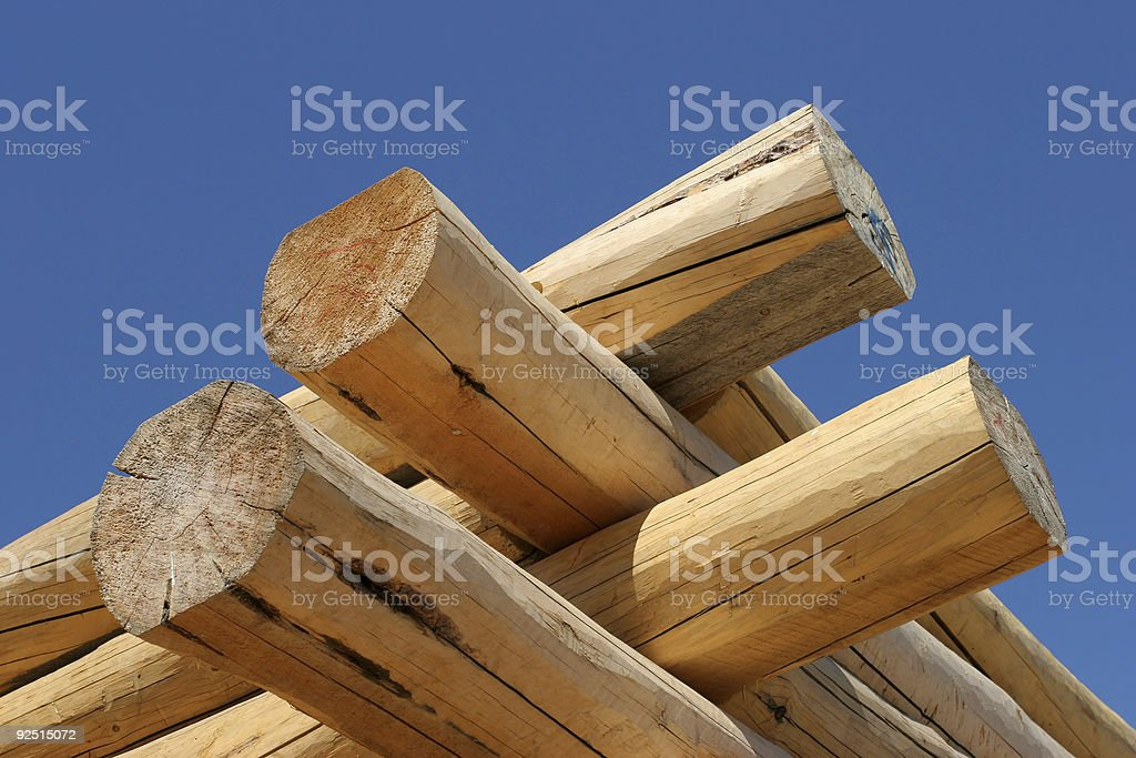 log home construction detail royalty-free stock photo