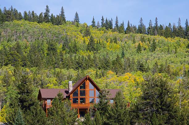 Log Home in Autumn Aspen