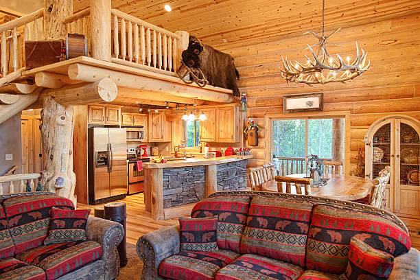 log home interior - kütük ev stok fotoğraflar ve resimler