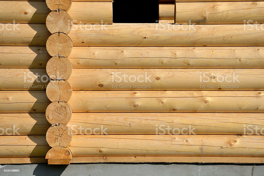 Log home wall detail стоковое фото