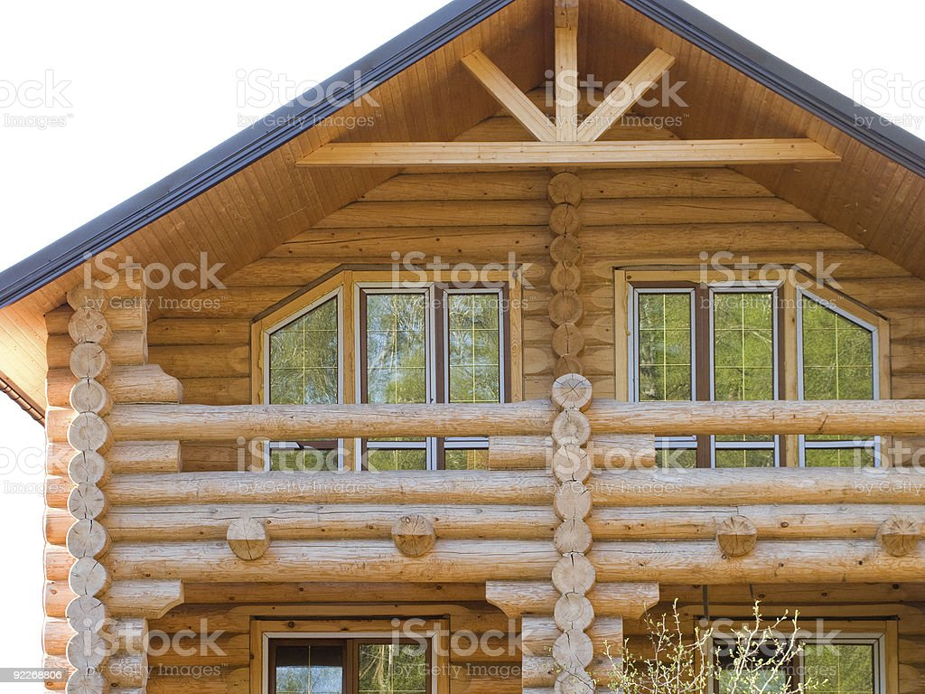 Log house structure stock photo