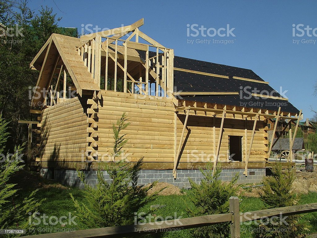 Log House Under Construction royalty-free stock photo