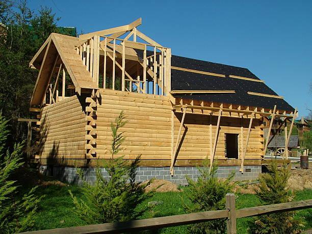 Log House Under Construction stock photo