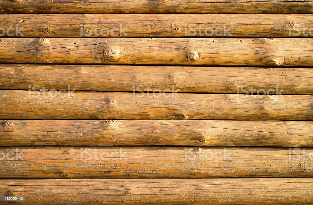 Log hut wooden wall background. stock photo