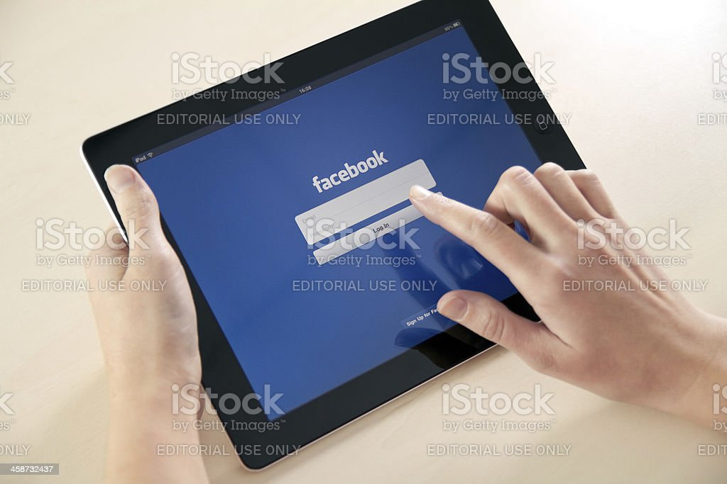 Log In On Facebook App royalty-free stock photo