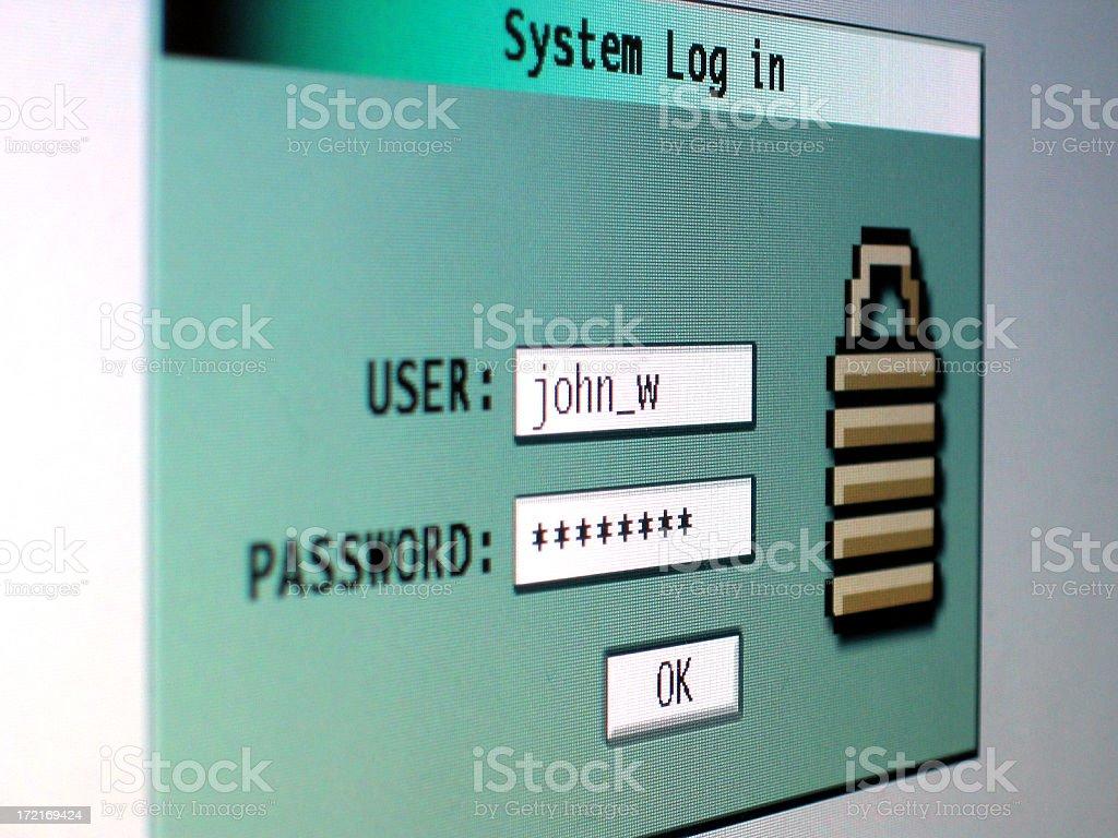 Log in stock photo