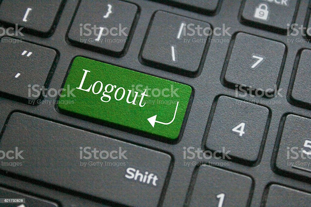 Log out button on keyboard stock photo