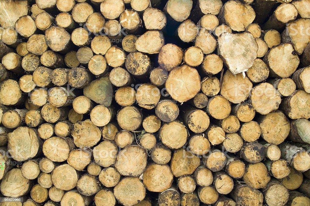 Log pile, horizontal view stock photo