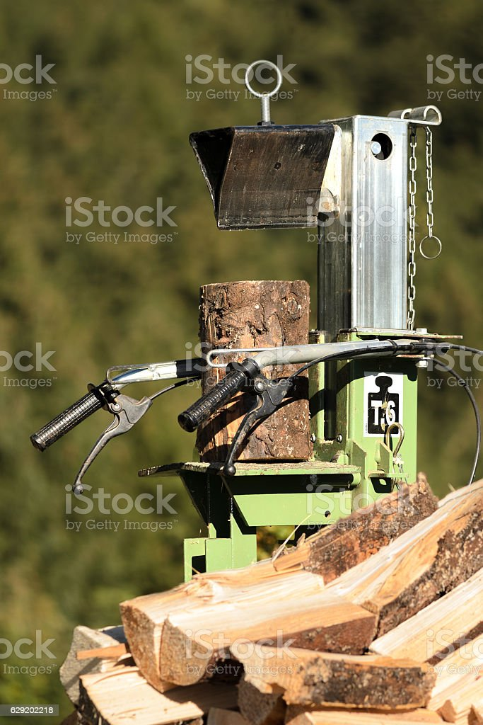 Log splitter stock photo