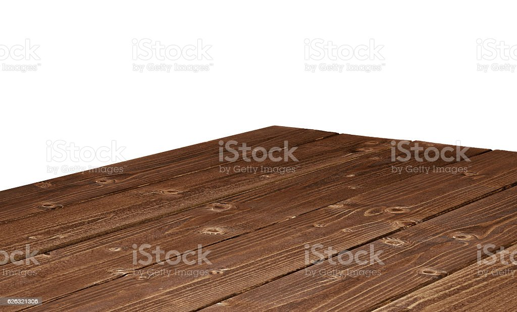 Log table corner on white background stock photo